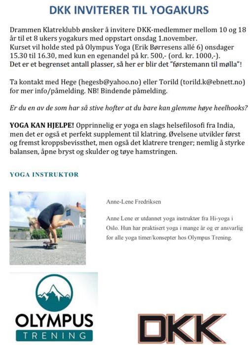 Yogakurs for juniormedlemmer